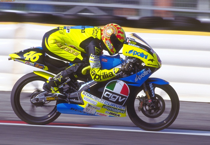 The sun and moon would continue to feature in almost all of Rossi's motorcyle helmets, but this first helmet is where it all began.