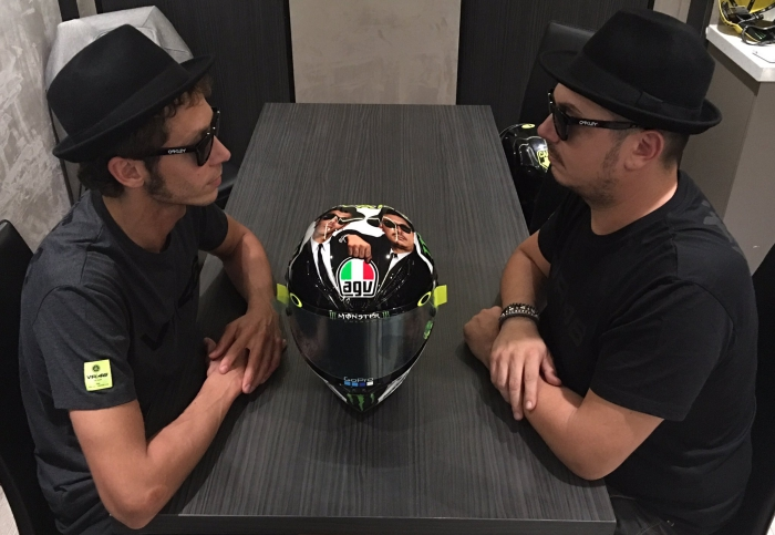 Valentino Rossi and Uccio as the Blues Brothers