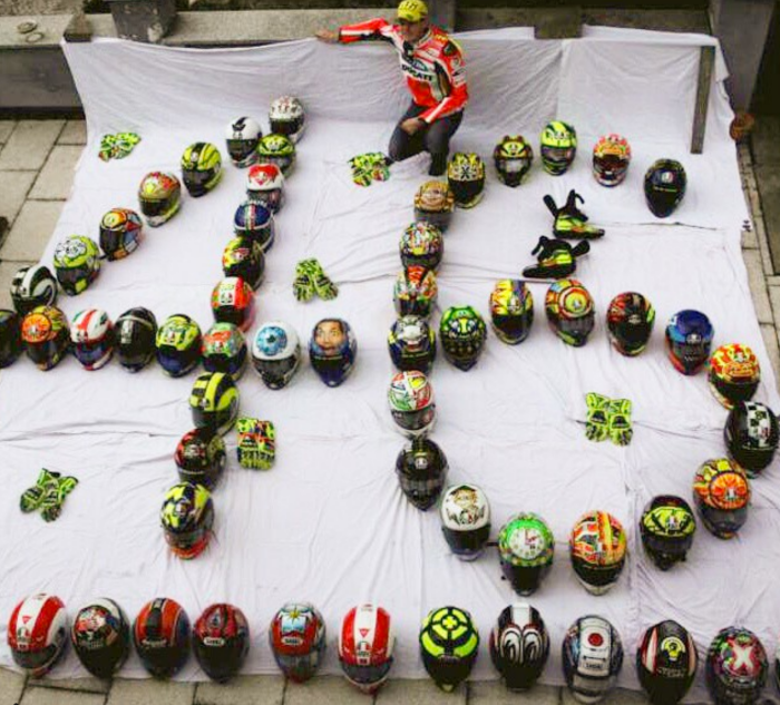 Huge fan collection of Valentino Rossi helmets