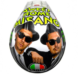 Valentino Rossi Misano 2016 helmet featuring The Blues Brothers